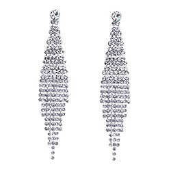 Silver Tassels-2 Earring With Sparkling Rhinestone