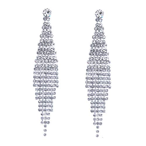 CHRAN Silver Teardrop Crystal Long Tassels Dangle Earrings Sparkling Rhinestone Ladies Gifts (Heart Chandelier Earrings)