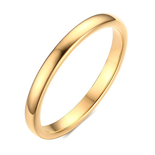 - YIKOXI Small and simple gold tungsten steel engagement ring,2MM,Size 6-11,Size 7