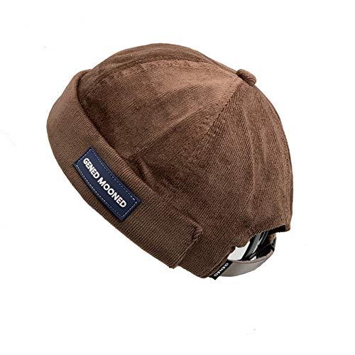 Croogo Unisex Cotton Cap Retro Rolled Cuff Skull Caps Brimless Beanie Hat Summer Outdoor Lesov Vintage Dome Cap Brown