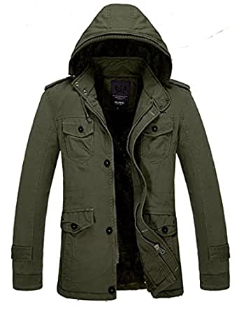 Men's Winter Warm Thicken Outdoor Military Hooded Coat Jacket Faux Fur Lined Outwear Parka Coat (X-Small, Army Green)