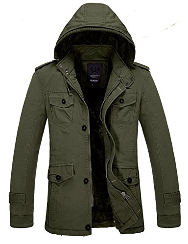 Winter Lined Men's Outdoor Faux Hooded Outwear Parka Thicken Military Fur Warm Coat Jacket Coat Green Army vxdwtFdr