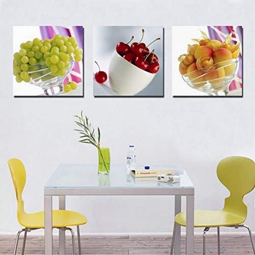 UDPBH 3 Paneles Arte De La Pared Pintura De Cuadros Pintura Cuadros Cocina Fruta Pintura Al Óleo Decoración del Hogar…