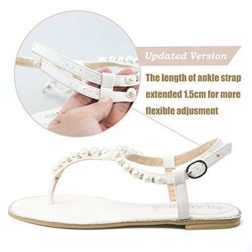 fad84333f LARA s Women s Gladiator Flat Sandals Beach Wedding Pearls Rhinestone Thong  Shoes