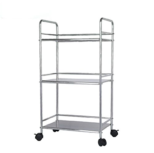 EPG-Life 3 Tier Stainless Steel Microwave Cart Stand Multifunctional Rolling Kitchen Carts with Wheels, Silver