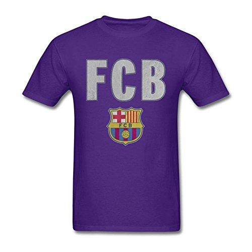 Cinxon Young FC Barcelona Simple Barca 100% Algodón T Shirts, Púrpura, XX Grande