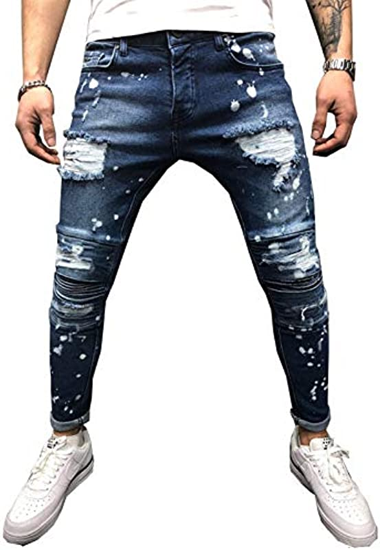 QMGLBG S Größe/Męskie Jeans Stretch Destroyed Torn Paint Dots Mode Knöchel Reißverschluss Skinny Jeans Męskie: Küche & Haushalt