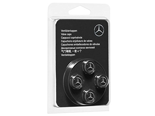 Genuine Mercedes Benz Black Style Valve Caps B66472002 (Set of 4)