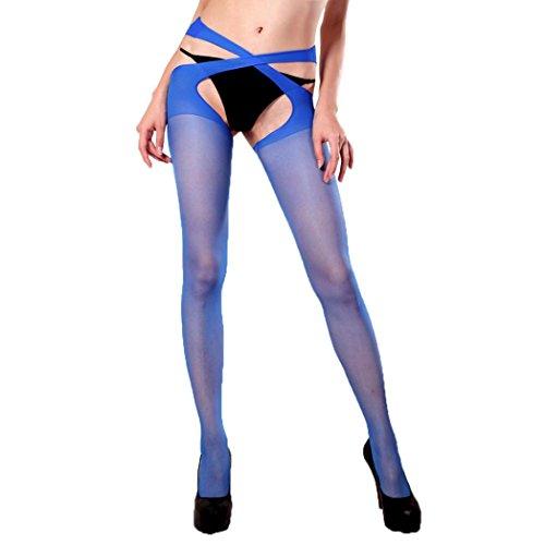 (Qisc Womens Fishnet Tights Plus Size Bandage Suspender Pantyhose Stockings (Free Size, Blue))