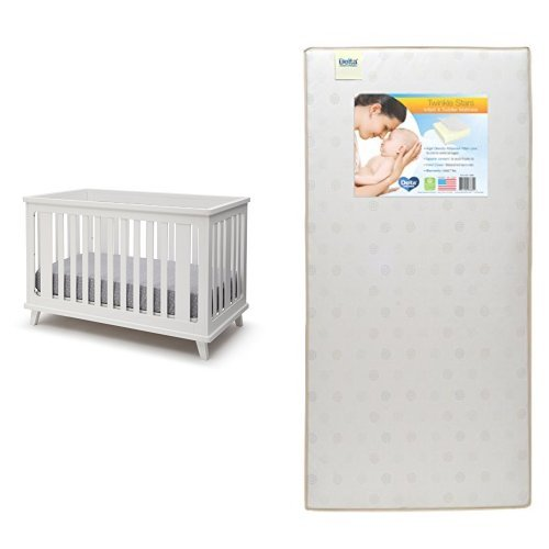 Delta Children Ava 3-in-1 Convertible Crib, White with Twinkle Stars Crib & Toddler Mattress