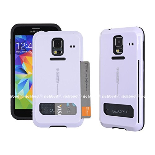Galaxy S5 Case,[White] Guardful [Shockproof] Credit Card Case [Dual Layer] Protective Hybrid Case [Coin Standing] with One Card Slot Wallet for Galaxy S5 (White)