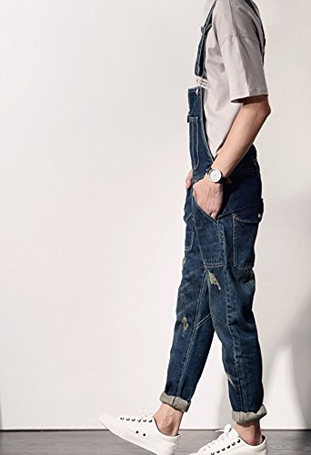 Denim Men's Casual Slim Denim Bib Pocket Vintage Jumpsuits Blue Size 32