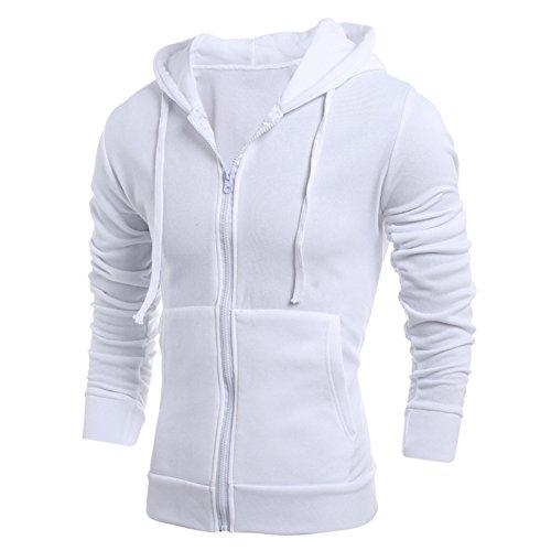 FUNOC Mens Long Sleeve Slim Fit Hoodie Front Zip With Pocket Outwear Jacket Front Pocket Zip Hoodie