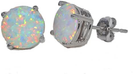 14Kt White Gold Simulated Opal 4mm Round Stud Earrings