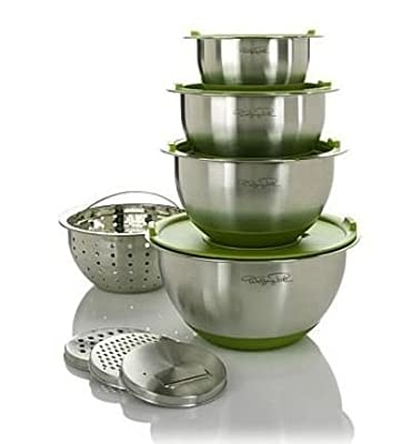 12 Piece Stainless Steel Mixing Bowl Set, Green by Wolfgang Puck