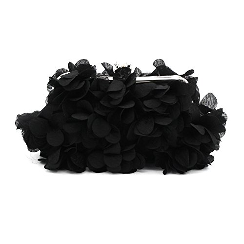 Black Silk Clutch - Kingluck Flower Design Satin and Silk Women Wedding Brial Clutch Bag/evening Handbags(more Colors) (black)
