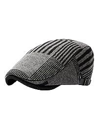 ACVIP Men's Striped Beret Winter Gatsby Hats Classic Flat Caps