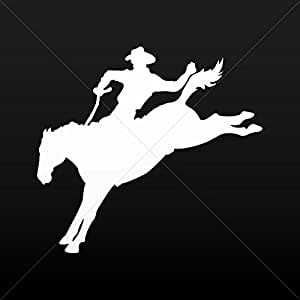 Decal Cowboy In The Wild Horse Tablet Vehicle Weatherproof Garage car White (6 X 5.50 In)