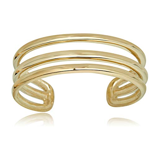 (AVORA 10K Yellow Gold Polished Three Row Minimalist Adjustable Toe Ring)
