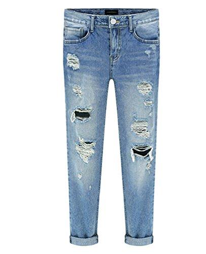 Dooxi Femmes Dcontracte Skinny Stretch Boyfriend Denim Pantalons lgant Mid Taille Dchir Jeans Bleu