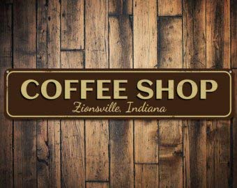 C B Signs L.E.D. Coffee Shop City State Sign, Personalized Store Location  Sign, Custom Kitchen