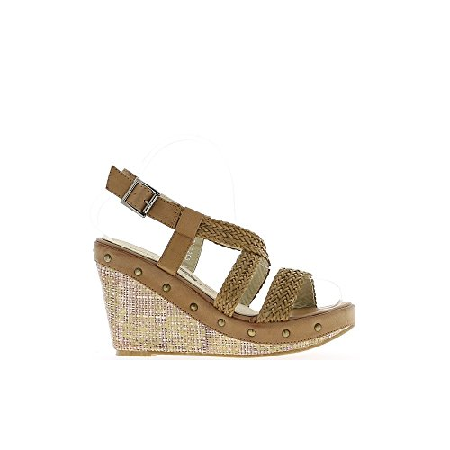 Sandales compensées camel à talons de 11 cm et plateau de 4 cm