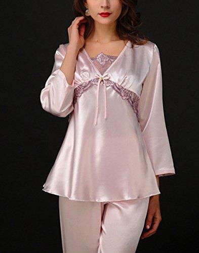 Aivtalk - Mujeres Conjunto de 2 Piezas de Pijama de Seda Imitación Camiseta y Pantalones Largos con Encaje Ropa en Casa Talla L-XL, Violeta, Rosa, Rojo Rosa