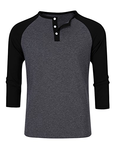 Men Crew Neck 3/4 Sleeve Raglan Baseball Jersey Henley T Shirt (XXL, Grey) ()