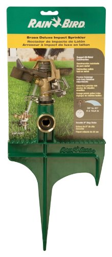(Rain Bird 25PJLSP Hose-End Brass Impact Sprinkler on Large Spike, Adjustable 20° - 360° Pattern, 20' - 41' Spray Distance)