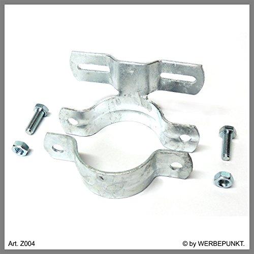Schild, Befestigung, Halterung, Schelle, Schilderschelle für Rundrohr, Rohrschelle, Ø 60 mm Rohr