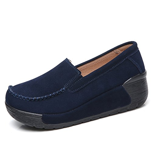 Women Loafers Slip Wedge Shoes Toe Navy STQ Moccasin Blue Suede Platform Work On Round Comfort wCZxHIqx