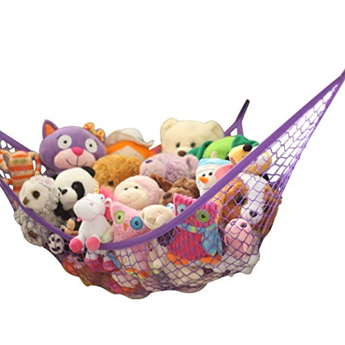 MiniOwls Toy Storage Hammock - Hanging Net for Stuffed Animal or Playroom Organization. Decorative Wall Corner Toy Storage for Kids Room (Purple, XL)