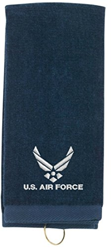 Spiffy Custom Gifts US Air Force Embroidered Tri-Fold Sports Towel w/Hook Navy