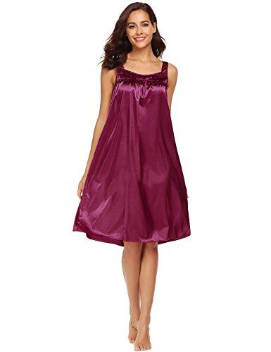 Ekouaer Mujer Ropa De Dormir Camisones Satén con Cordón Camisón Suelto Satén Vino Tinto