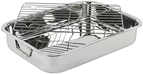 Stainless Steel Heavy Duty 16 Lasagna Roasting Pan with Rack