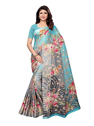 (KANCHNAR Women's Printed Cotton Silk Kota Doria Saree with Unstitched Blouse(1009S1014_Blue))