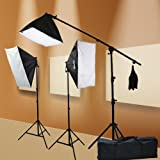 ePhoto Digital Photography Video 2400 Watt THREE Softbox Lighting & Boom Hair Light Kit H9004SB2