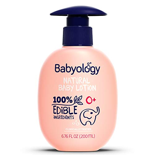 Daily Lotion Baby Moisture - Babyology - 100% Edible Ingredients - Organic Baby Lotion - Clinically Tested - 6,67 FL. OZ - Calming & Rich Moisture for Sensitive Skin - Daily Care - Non-scented - Perfect Baby Shower Gift