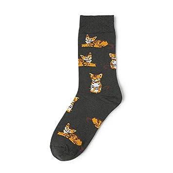 KALENAME (12 Pares Lindo Calcetines De Algodón Gato Naranja Shiba Inu Calcetines De Jacquard Calcetines De Animales: Amazon.es: Deportes y aire libre