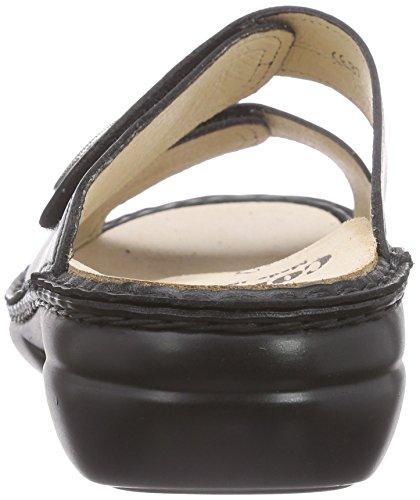 Finn Comfort Femmes 2550 Zanzibar Nappaseda Sandales En Cuir Noir