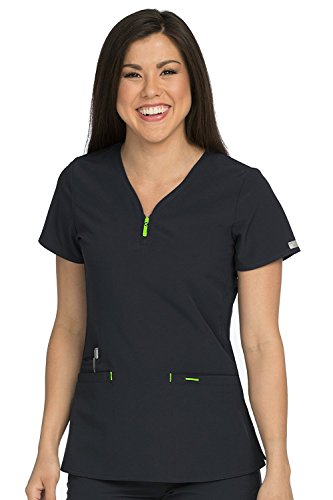 Meds Collection (Med Couture Women's 'Air Collection' Zippity Scrub Top, Black/Apple, Medium)