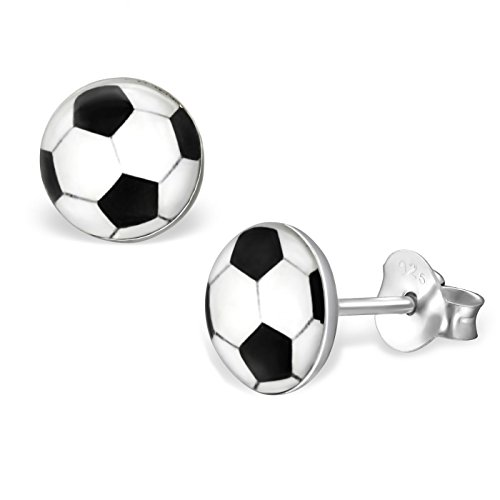 (8mm Soccer Ball Round Earrings 925 Sterling Silver Studs Womens)