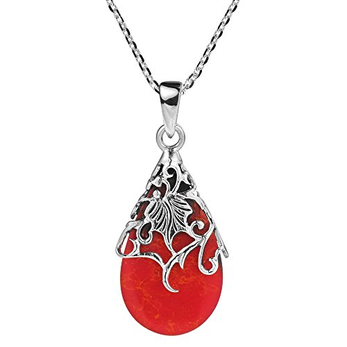 Wonderful Red Coral Necklace (Reconstructed Red Coral Vintage Floral Vine Adorned Teardrop .925 Sterling Silver Pendant Necklace)