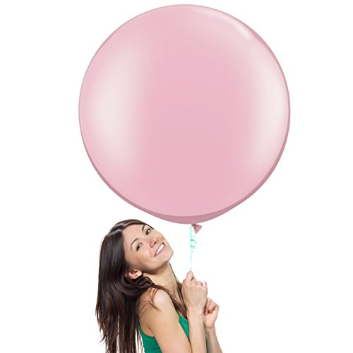36 Inch (3 ft) Giant Jumbo Latex Balloons (Premium Helium Quality), Pack of 3, Round Shape - Baby Pink, for Photo Shoot/Birthday/Wedding Party/Festival/Event/Carnival