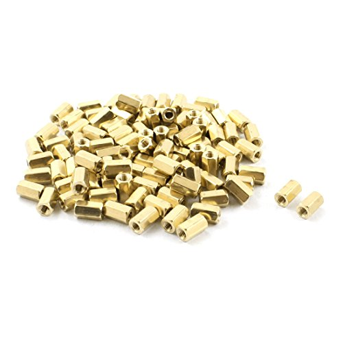M3x8mm Female Thread Gold Tone PCB Hexagonal Nut Standoff Spacer x 100