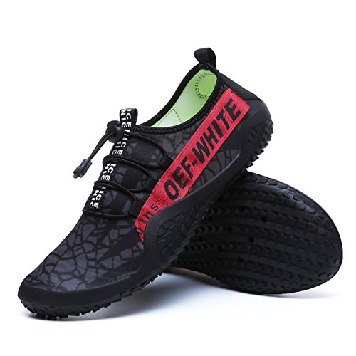 Men Women Water Shoes Quick Dry Barefoot Slip On Aqua Socks for Beach Walking Swim Yoga Pool Sports Red-black