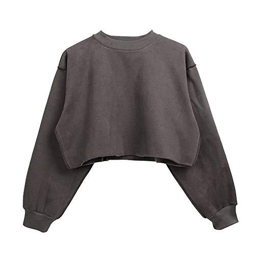 Simple-Fashion Primavera e Autunno Corto Tops Donne Giovane Moda Tinta Unita Jumper T-shirts Bluse Pullover Casual Rotondo Collo Maglie a Manica Lunga Felpe Maglietta Maglioni Grigio Scuro