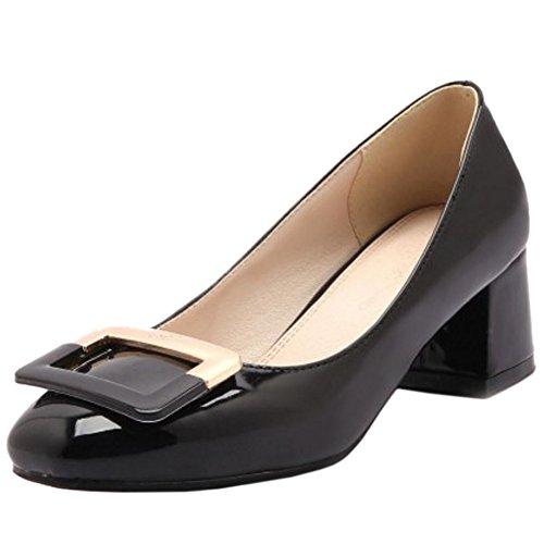 Shoes Comfort Block KemeKiss Mid Black Heel On Heel Slip Pumps Women Unx0HO