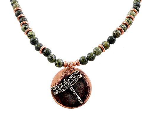 (Modern Artisans Copper Dragonfly Pendant on Serpentine Stone Necklace, 18-Inch, American Made)