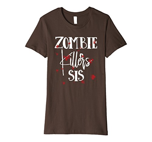 Woman Zombie Killer Costume (Womens Halloween Costume Zombie Killers Sis Bloody T-Shirt Large Brown)